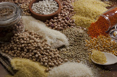 Beans, chick, food. Misc raw legumes like haricots, rice, wheat and chick pea Royalty Free Stock Images