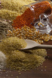 Beans, chick, food. Misc raw legumes like haricots, rice, wheat and chick pea Royalty Free Stock Photography