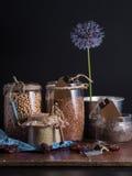 Beans  chickpeas flax sesame poppy. Still life Stock Photo
