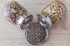 Beans, chickpeas and lentils in glass jars Royalty Free Stock Photography