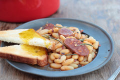 Beans and chorizo. Stock Image