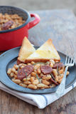 Beans and chorizo. Royalty Free Stock Image