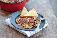 Beans and chorizo. Stock Images