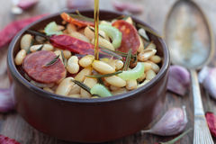 Beans and chorizo. Royalty Free Stock Photography