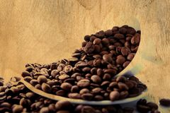 Beans of coffee paint at wood Royalty Free Stock Images