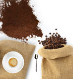Beans and coffee powder with bag Stock Photo