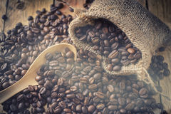 Beans coffee in sack bag Stock Photography