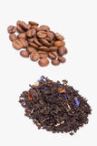 Beans coffee and tea. Beans of coffee brewing and dry flower tea royalty free stock images