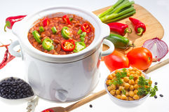 Beans cooked in slow cooker. Stock Image
