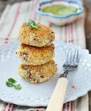 Beans croquette. With cucamber sause Royalty Free Stock Photos