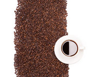 Beans and cup of coffee. Royalty Free Stock Photos
