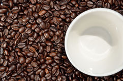 Beans and cup of coffee Stock Photo