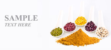 Beans and curry powder with input sample text Royalty Free Stock Images