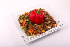Beans Egyptian meal. Egyptian Bean meal with tomatoes and Vegetables Stock Photography
