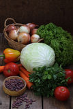 Beans and fresh vegetables: carrots, onions, tomatoes, potatoes, Stock Photos