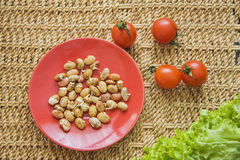 Beans germs. Germs in a plate, healthy live food photo with copy space for text Stock Photo