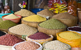 Beans and Grains. A colorful assortment of dried beans and grains for sale at a market in Hue, Vietnam Stock Photos