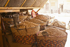 Beans, grains and dry fruits in baskets in a store Royalty Free Stock Image