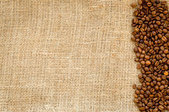 Beans, ground coffee on linen cloth top view mock up Stock Photo