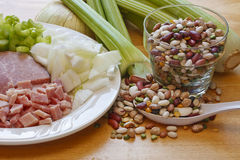 Beans Ham and Veggies for Soup Royalty Free Stock Photos