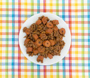 Beans and hot dogs on a plate Royalty Free Stock Photography