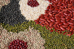 Beans, legumes assortment background Stock Photos