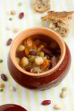 Beans, lentil and pea soup with bacon Royalty Free Stock Image