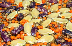 Beans lentils buckwheat seeds pumpkin Stock Photos