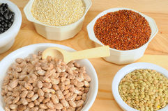 Beans, lentils, and quinoa Stock Images