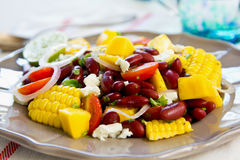 Beans with  Mango and Feta cheese salad Stock Photos
