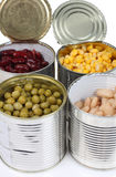 Beans in metal cans Stock Photos