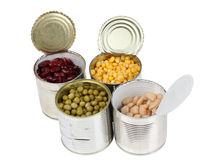 Beans in metal tins Stock Image