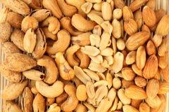 Beans mixes. Almonds,cashews,peanuts background Stock Image