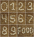 Beans numbers on the lentils background Stock Photography