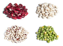 Beans and pea. Set of beans and pea close up isolated Stock Photo