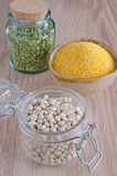 Beans, peas and corn milled Royalty Free Stock Image