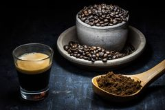 Types of coffee in dark background Stock Photography