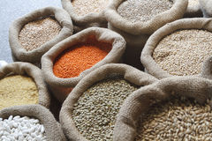 Beans, rice, lentils, oats, wheat, and barley in jute sack Stock Image