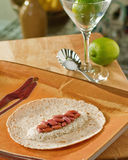 Beans rice tortilla lime Royalty Free Stock Photography