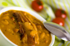 Beans and roasted pork bacon with chili pepper Stock Photo