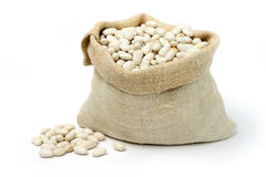 Beans in a sack Stock Photo