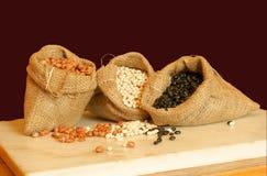 beans in sacks Stock Photos