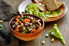 Beans salad with carrots and black rice Stock Photography