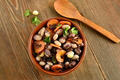 Beans salad with carrots and black rice Stock Image