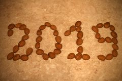 Beans on sand-colored backgroung royalty free stock images
