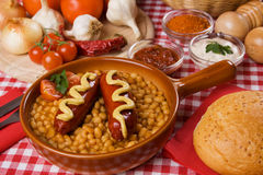 Beans and sausage Royalty Free Stock Photos
