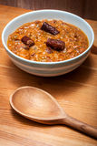 beans and sausage in a rustic kitchen Royalty Free Stock Photography