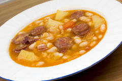 Beans with sausage Royalty Free Stock Images