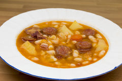 Beans with sausage Stock Photo
