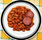 Beans and sausages Stock Photography